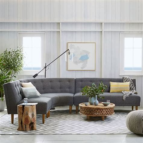 rounded retro curved sofa rounded retro sectional west elm