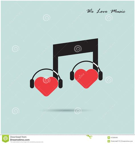 imagenes creativas web creative music note sign icon and silhouette heart symbol