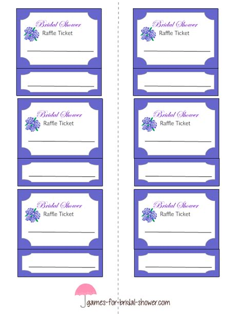 printable chance tickets free printable bridal shower raffle tickets