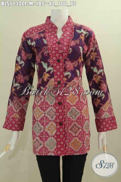 Baju Saat Kerja blus batik paling keren saat ini baju kerja batik cap tulis model kerah shanghai kancing depan