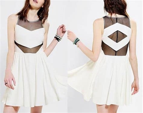 Mesh Mix Skater Dress W8741 White greene is a mix of sweet and tough in sachin babi
