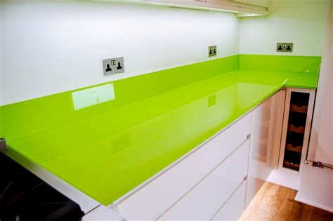 green worktops for kitchens quot lime green quot toughened glass kitchen worktop and island