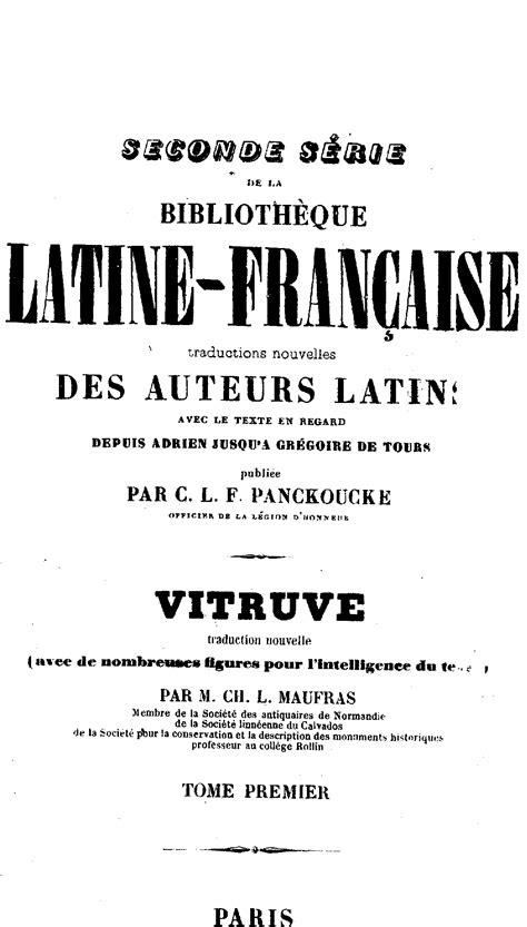 Vitruve : De l'Architecture : Livre I.