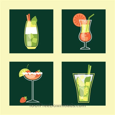 cocktail icon vector free vectors cocktail icon set vector illustration