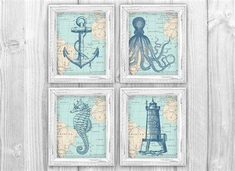 vintage nautical bathroom nautical map sea life set of 4 prints vintage ocean charts