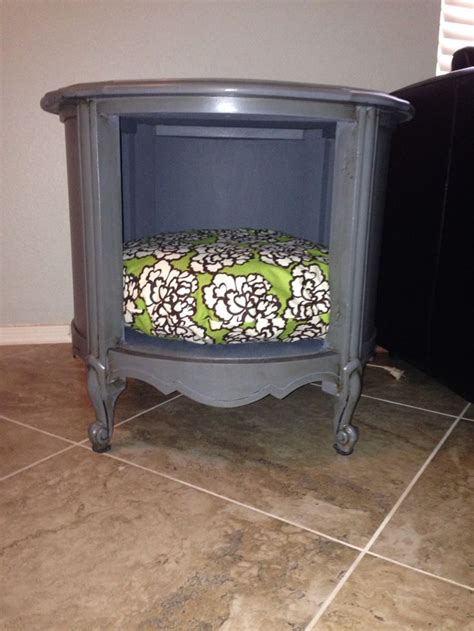 end table dog bed upcycled vintage end table made into side table dog bed by