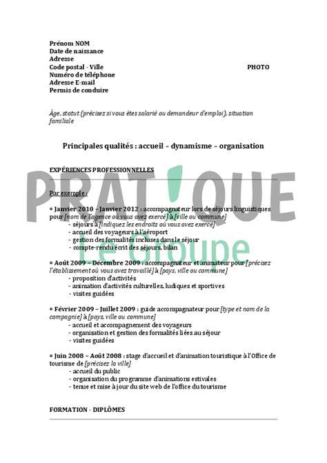 Demande De Lettre D Accueil Université Mod 232 Le De Cv Pour Un Emploi De Guide Accompagnateur Confirm 233 Pratique Fr