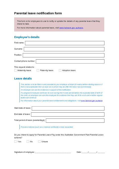 paternity leave after c section parental leave request template hashdoc