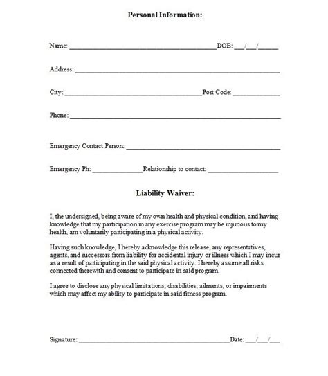printable sample release  waiver  liability agreement form laywers template forms
