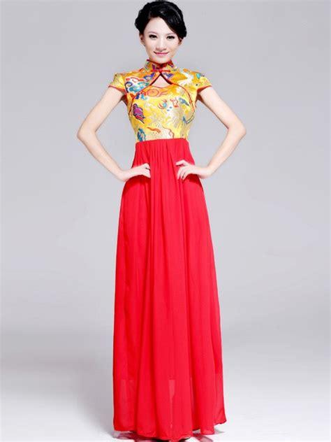 Maxi Mandarin Da cheongsam qipao top maxi chiffon skirt