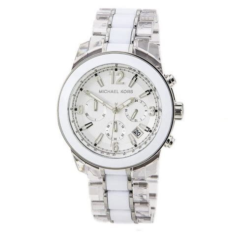 michael kors chronograph white and clear acetate