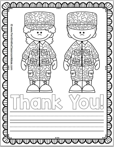 thank you military coloring page free memorial day coloring page and thank you notes