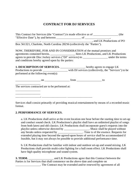 33 Great Dj Contract Agreement Sle Ze M137446 Edujunction Dj Contract Template Free