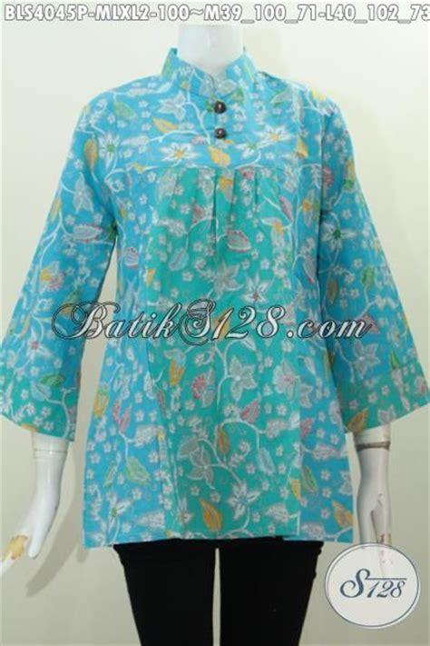Blus Batik Biru Xl blus batik biru muda motif trendy paling keren saat ini baju batik wanita masa kini model kerah