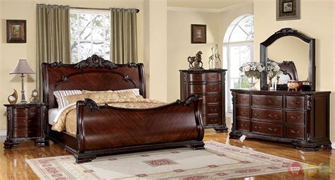 Cherry Wood Sleigh Bedroom Set | bellefonte baroque brown cherry sleigh bedroom set with