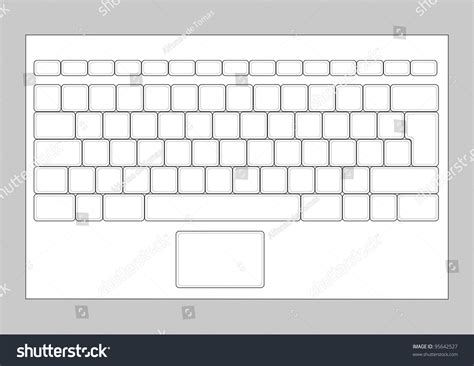 laptop blank keyboard layout computer input stock vector