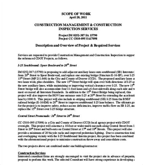 scope of work construction template scope of work template 9 free pdf documents