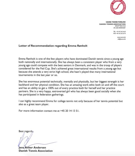 Scholarship Letter Of Recommendation From Coach Roenholt Tennis Scholarships Athletes Usa
