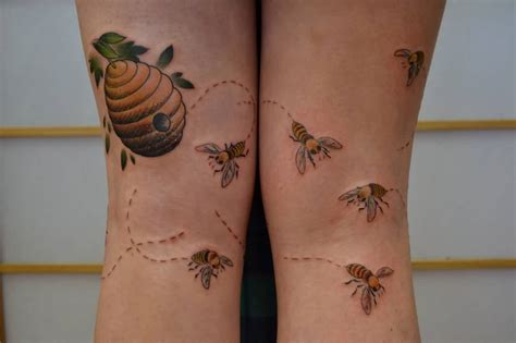 the hive tattoo mind blowing realistic bee and bee hive design