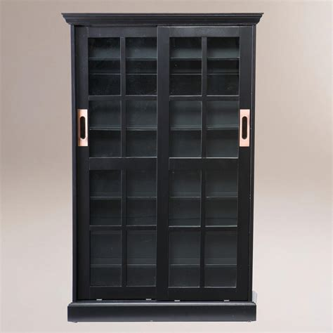 Black Bookshelf With Doors Black Sliding Door Bookcase And Media Cabinet World Market