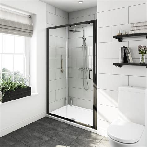 Mode Tate Black 6mm Sliding Shower Door 1200mm Shower Doors