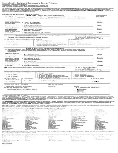 U.S. Standard Certificate of Death Form Free Download