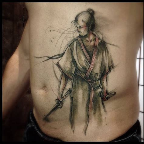 sketch work style samurai tattoo on the stomach