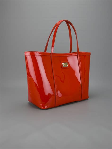 Dg Dolce And Gabbana Patent Tote by Dolce Gabbana Patent Shopper Tote In Orange Lyst