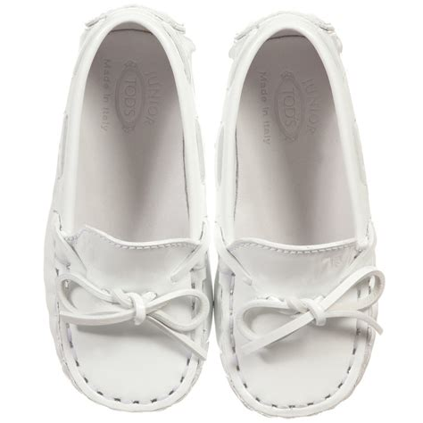 tod s white patent leather baby pre walker shoes