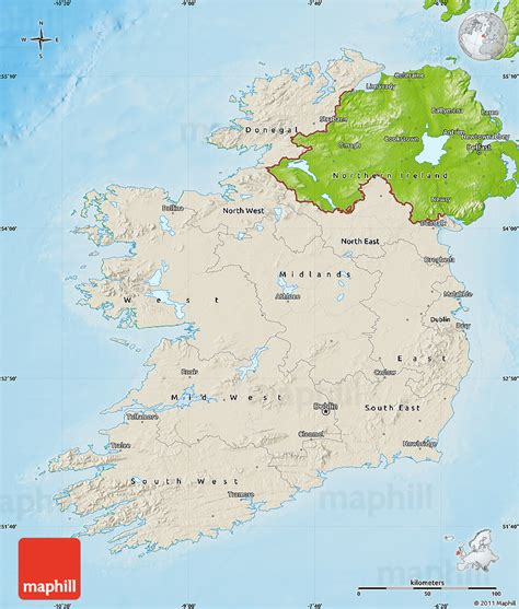 ireland physical map shaded relief map of ireland physical outside