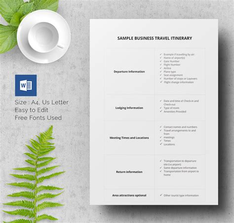 business itinerary template 40 travel itinerary templates free sle exle