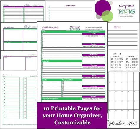 home organizer free printable all things moms