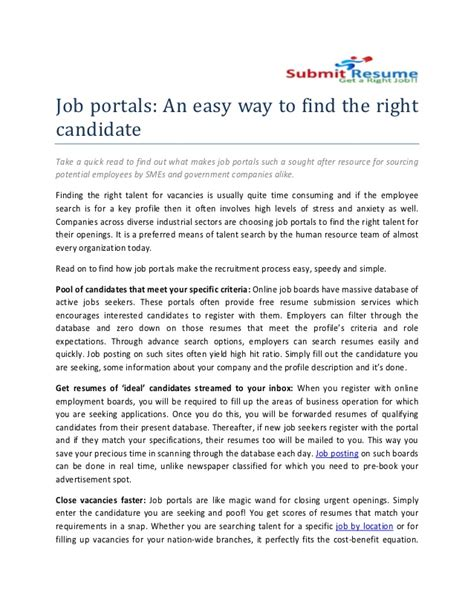 Free Job Portals To Search Resumes by How To Get Resumes From Job Portals Resume Ideas