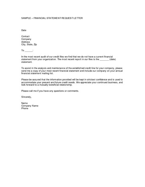 Financial Letter financial reporting cover letter