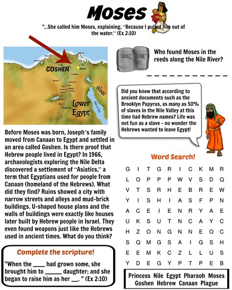 free bible worksheet moses in the land of goshen