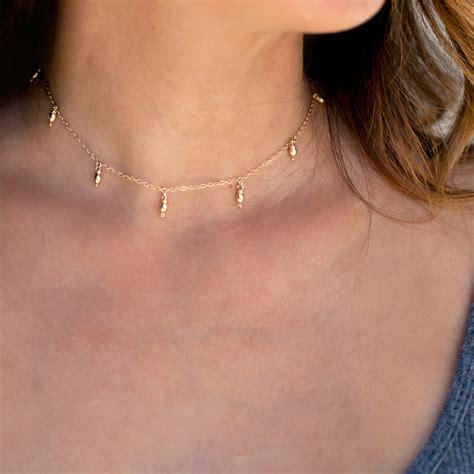 Choker In The Choker delicate gold choker necklace dainty choker necklacedew drop