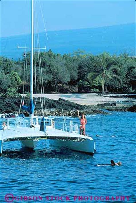 big island catamaran snorkel people swim from catamaran kailua kona big island hawaii