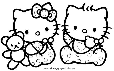 Hello Kitty Color Page Coloring Pages For Kids Cartoon