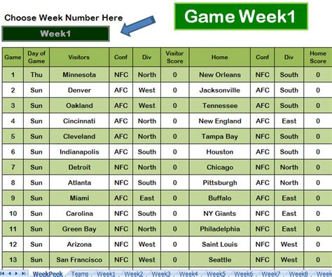 nfl football pool sheets