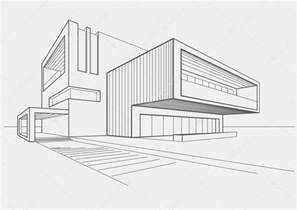 building sketch online linear sketch of modern building on light gray background