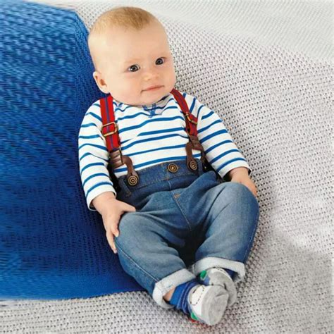 Baby 3in1 2shirt 1pant baby boy sleeve t shirt bib overall clothes set 2 pcs s01 in clothing