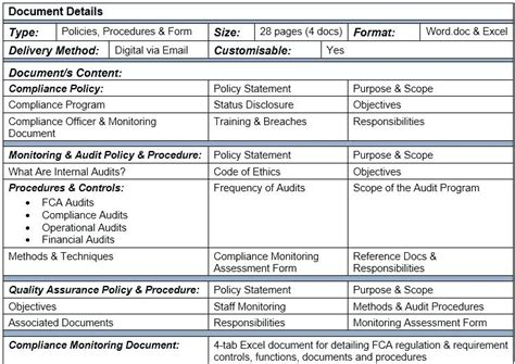 audit procedure template audit policy and procedure template template
