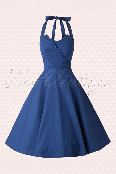 50s swing 50s myrtle halter swing dress in midnight blue
