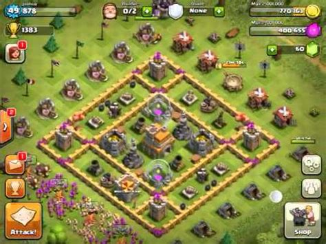 clash of clans layout guide level 5 clash of clans level 7 townhall layout youtube