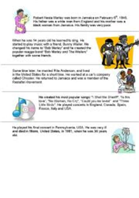 bob marley short biography in english english worksheets bob marley 180 s biography simple past