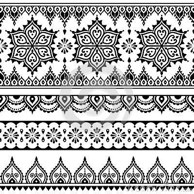 indian ornaments and design elements vector mehndi indian henna tattoo seamless pattern design