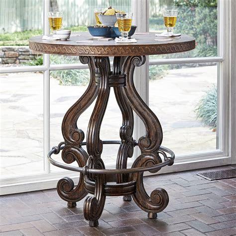 Copper Top Bar Table by Mahogany Base Aluminum Footrest Copper Top Bistro Bar