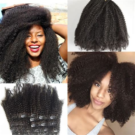 hair clip ins styles on ebony women eurasian afro kinky curl clip in extensions for african