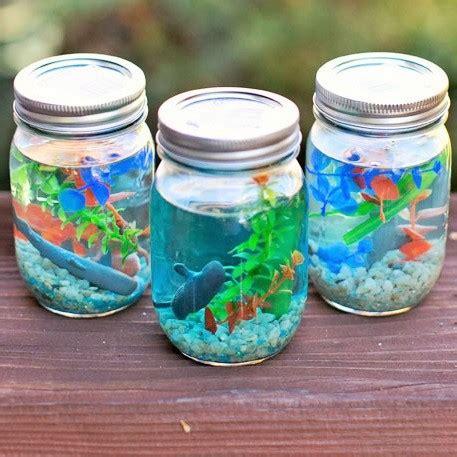 make your own jam jar aquariums