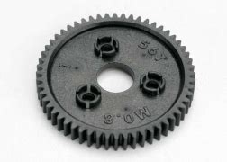 Traxxas 3958 Spur Gear 58 Tooth 0 8 Metric Pitch jato 3 3 55077 3 transmission assembly exploded view traxxas